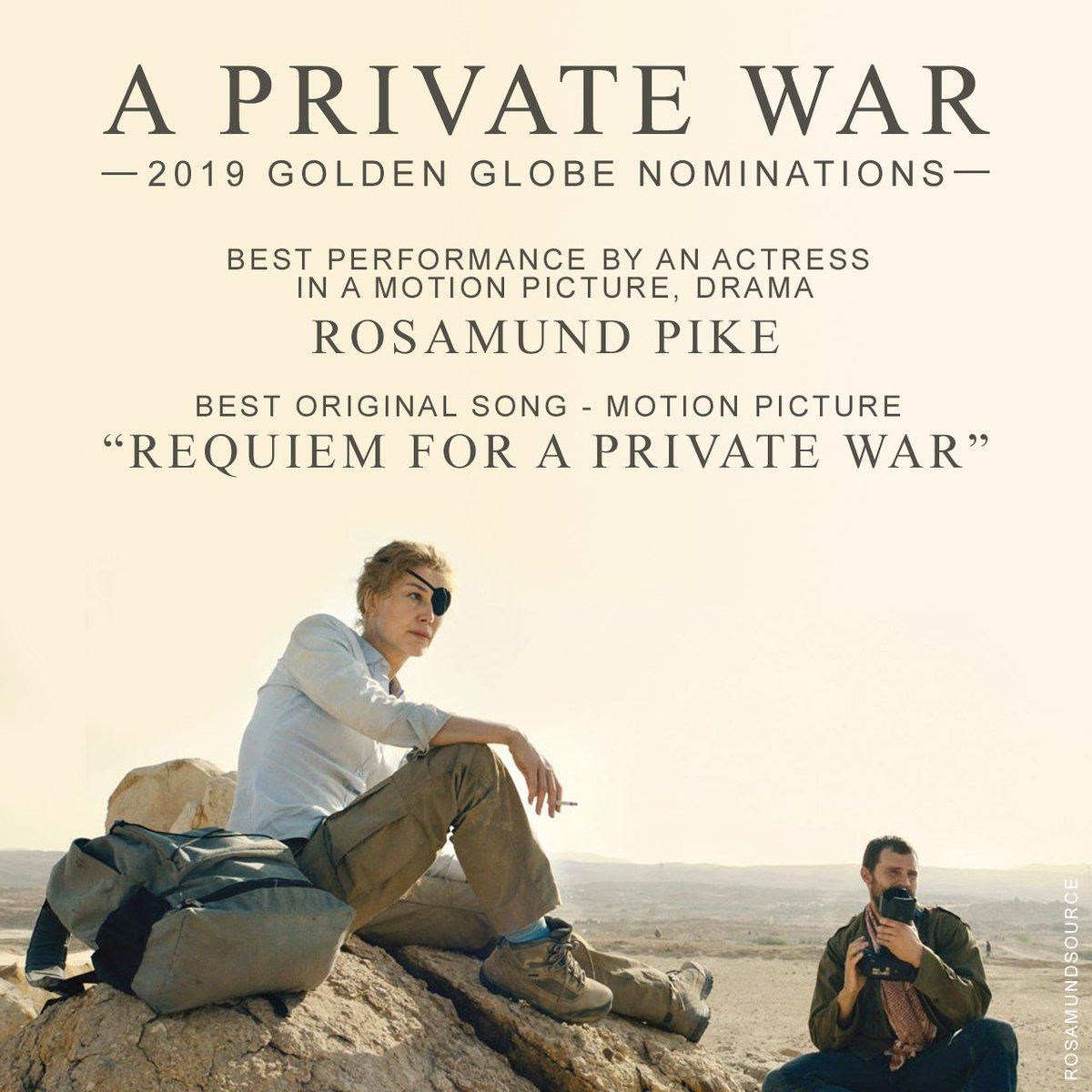 Congratulations to the #APrivateWar team on two nominations for the 2019 #GoldenGlobes!<br>http://pic.twitter.com/X98BqKywqq