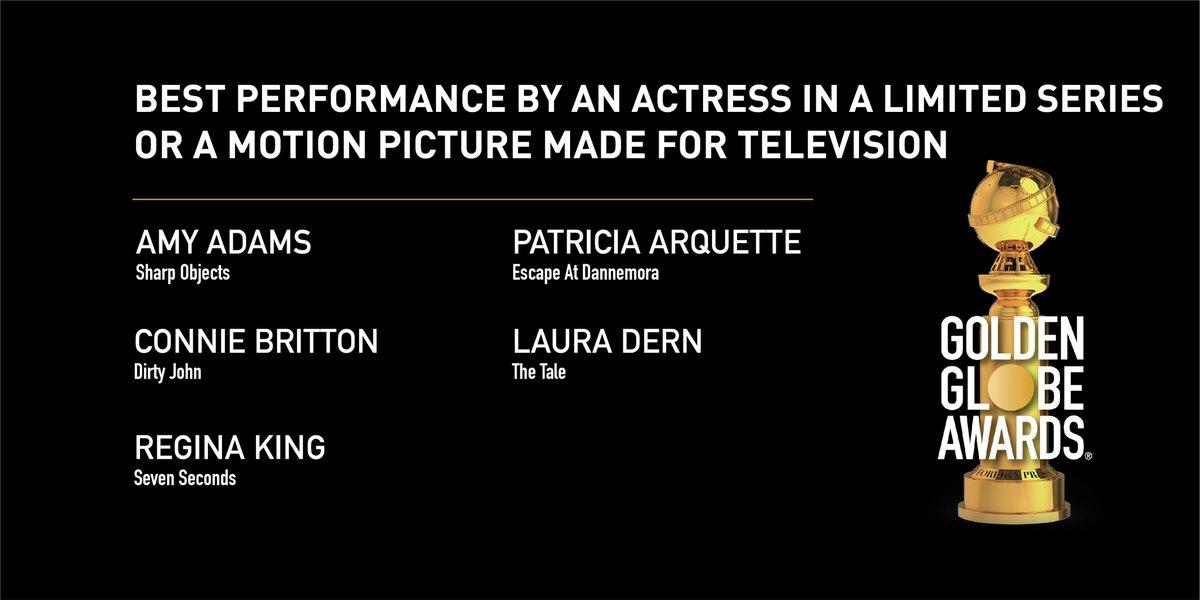 The Television-Nominated Actresses for this year's #GoldenGlobes including @PattyArquette, @conniebritton, @LauraDern, @ReginaKing, @AlexBorstein, @thandienewton, @Y_Strahovski, @caitrionambalfe, @IamSandraOh, @IMKristenBell, @alisonbrie, @RachelBros, @DebraMessing, &amp; more! <br>http://pic.twitter.com/lYqCHBzbni