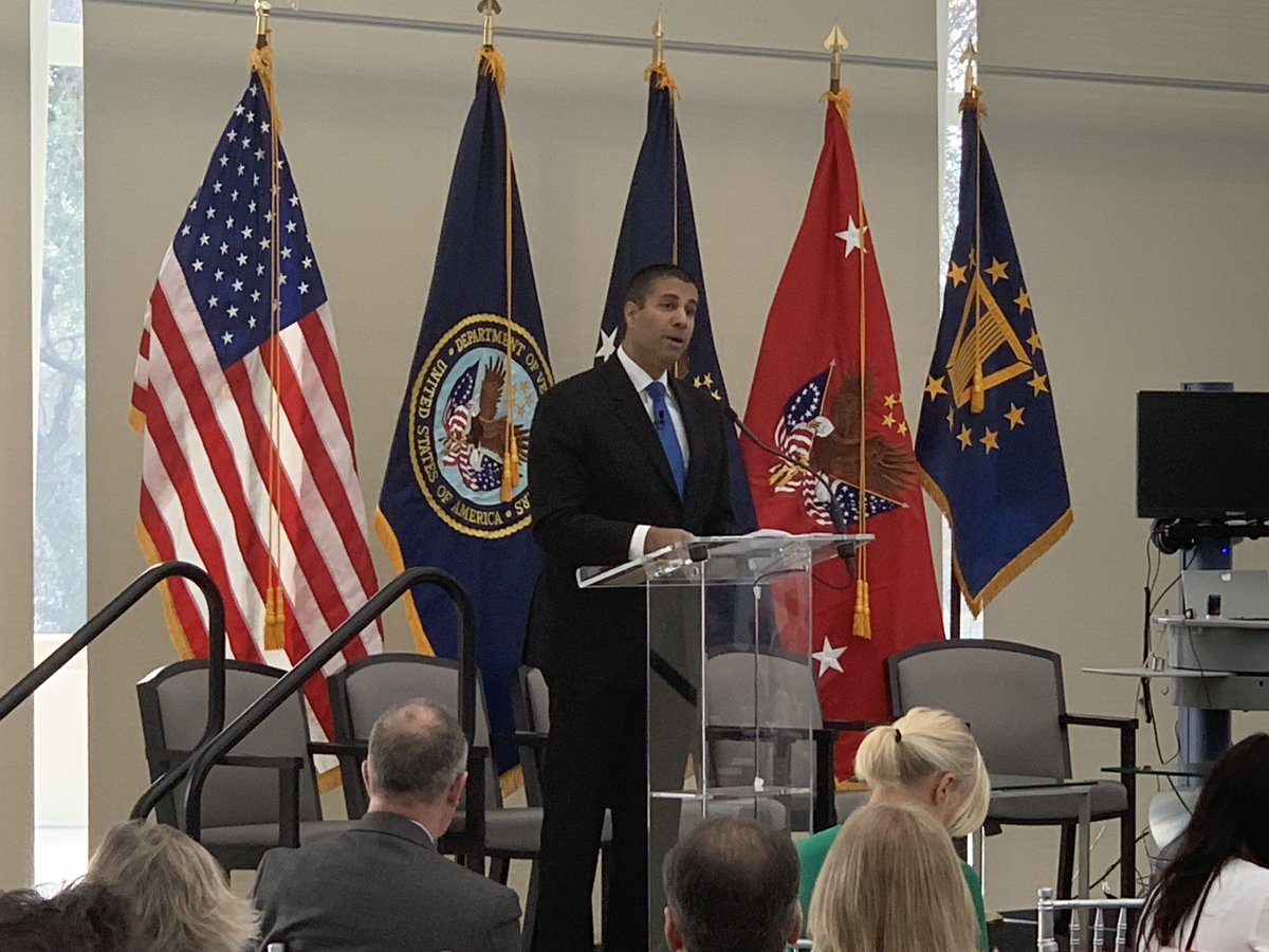 .@AjitPaiFCC provides remarks on the shared commitment of VA &amp; @FCC to provide access to telemedicine for Veterans in rural communities by expanding broadband connectivity. Access to mobile broadband is essential to future of medicine. #A2ATelehealth <br>http://pic.twitter.com/xkXDepE0EI