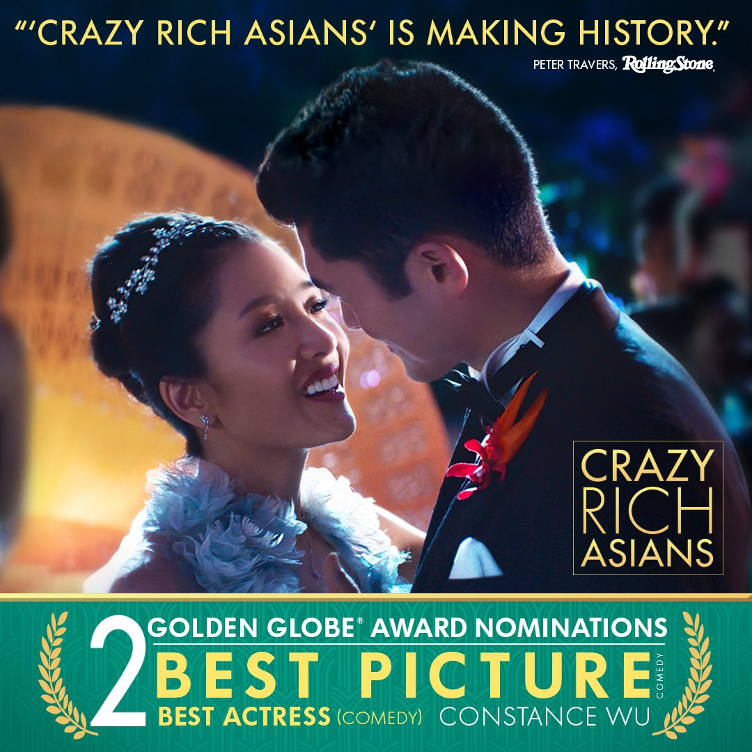 #CrazyRichAsians has been honored with two #GoldenGlobe nominations - Best Picture, Musical or Comedy and @ConstanceWu for Best Actress, Motion Picture Musical or Comedy. Congrats to the filmmakers and cast! <br>http://pic.twitter.com/gRCghSWo3D