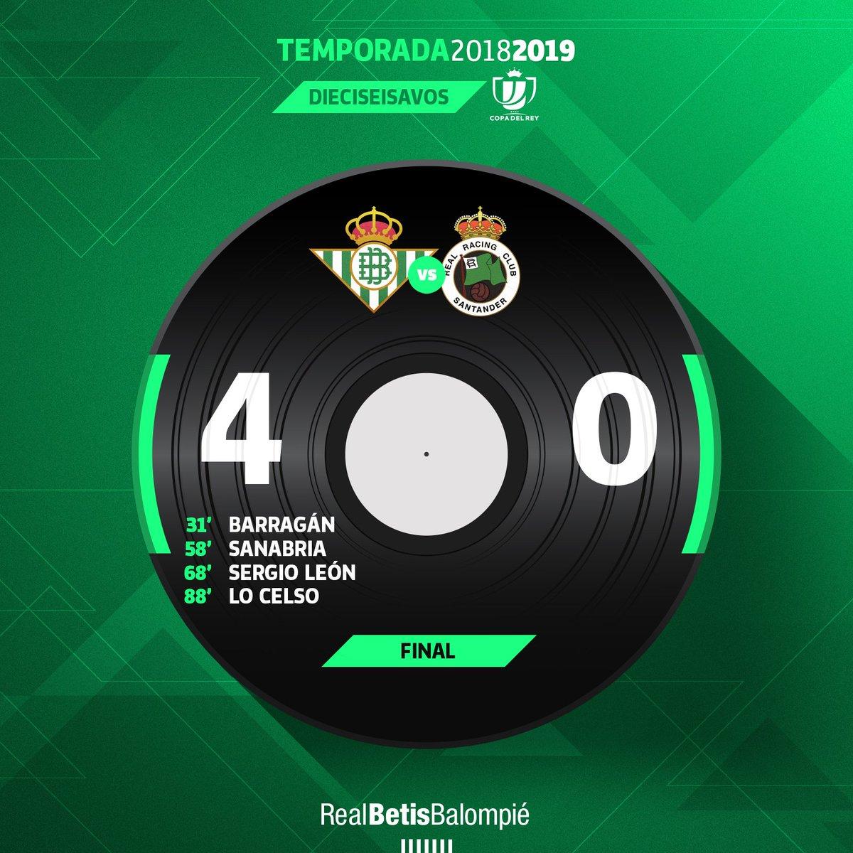 92 ⏱⚽️ ¡¡¡FINAAAAAAAAAL!!! 👏👏👏 ¡Final del partido con victoria verdiblanca en el Villamarín! 💚⚪️ #RealBetisRacing 4-0 ✳⚪ #DíaDeBetis #CopaDelRey