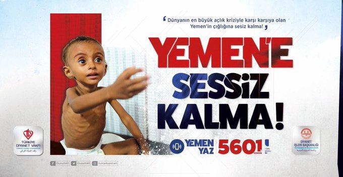 Yemenli kardeşlerimize yardım için bu kampanyaya destek verelim. Anadolu insanı mazlumun, mağdurun ve darda kalanın yanında olduğunu dünyaya bir kez daha gösterecek, sağına soluna bakmadan yardım elini uzatacaktır. #YemeneSessizKalma Fotoğraf