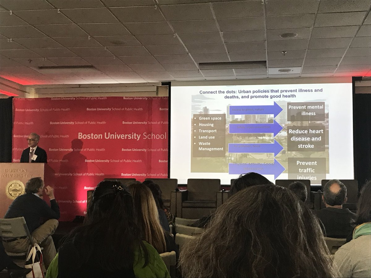 Carlos Dora @WHO explains how urban policies directly promote health.  Connecting the dots- policies for green space, housing, transportation, etc. are the same policies that will reduce carbon emissions and mitigate climate risks. Local benefits of global action. #BUSPHSymposia <br>http://pic.twitter.com/xxRxbzMmM7
