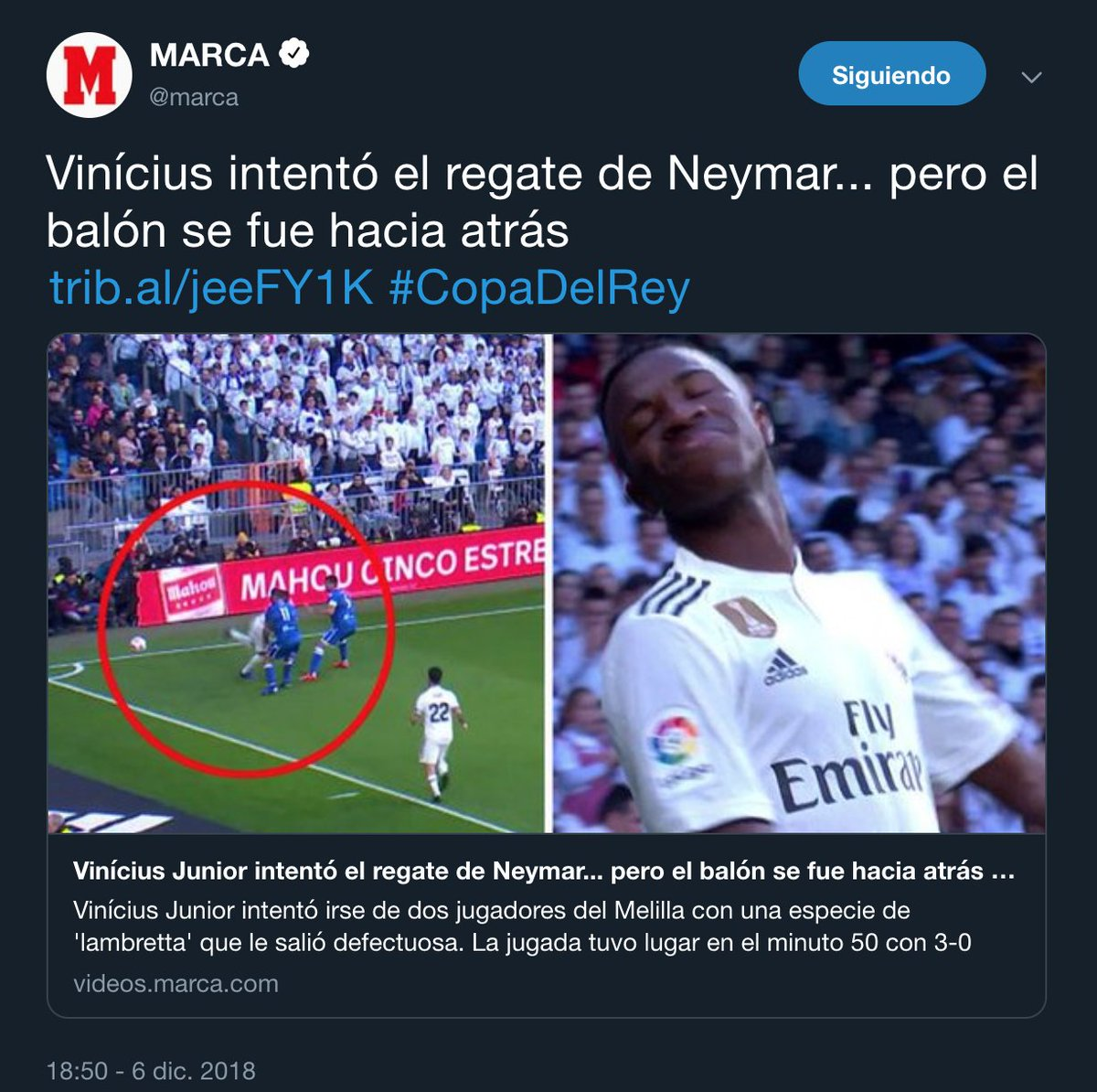 RT @Llourinho: Cuando lo hace Vinicius contra el Melilla no es provocación. https://t.co/M2TQHUrmPt