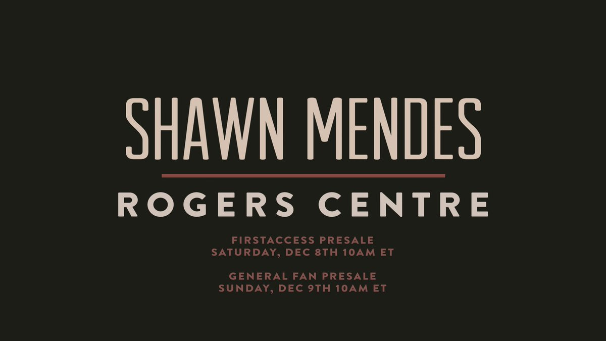 We've saved tons of the best seats and more VIP for Rogers Centre for the FirstAccess & General Fan Presales this weekend! The Roots online presale has sold out. Make sure to get your code for Saturday & Sunday's presales at smarturl.it/shawnaccessapp