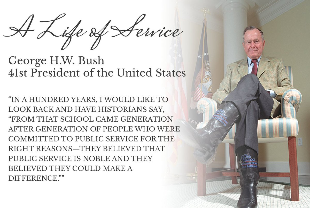 Your dedication to public service built this school. We are ready to live out your legacy. Thank you for your leadership and your service, President Bush. May you rest now in peace. It's our turn to answer the noble call of public service. #honoring41 #remembering41