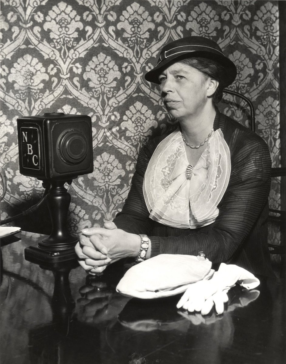 From the UIC Library Digital Collection: Eleanor Roosevelt, First Lady and wife of U.S. President Franklin Delano Roosevelt, visits the Century of Progress in July 1934. Here she is seen in front of a NBC radio microphone. #centuryofprogress #chicago #firstlady #vintagechicago