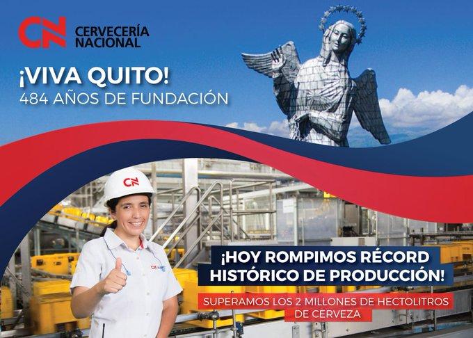 Hoy celebramos los 484 años de la Fundación de Quito rompiendo nuestro récord de producción histórico: ¡2, de hectolitros🍺! Qué #VivaQuito y qué viva nuestro equipo de Supply. #OrgulloCN💙❤️💙 Photo