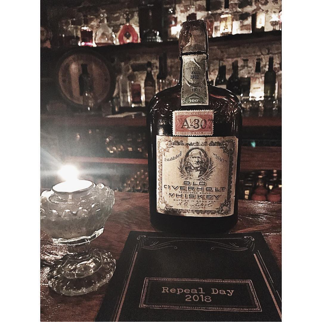 Just one of the vintage, century-old whiskeys we popped open & poured last night! 🥃 Thanks to the everyone who came out + celebrated #RepealDay with us last night, it was one of our best yet! Until next year! #prohibitionwhiskey #oldoldoverholt #distilledin1921  📸: @seawolf_727
