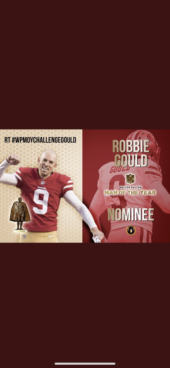 Retweet retweet retweet!!!  Congrats @robbiegould09 on the Walter Payton Man of the Year nomination.  Help him with the Charity Challenenge by retweeting #WPMOYCHALLENGEGOULD<br>http://pic.twitter.com/rzJgFtszva
