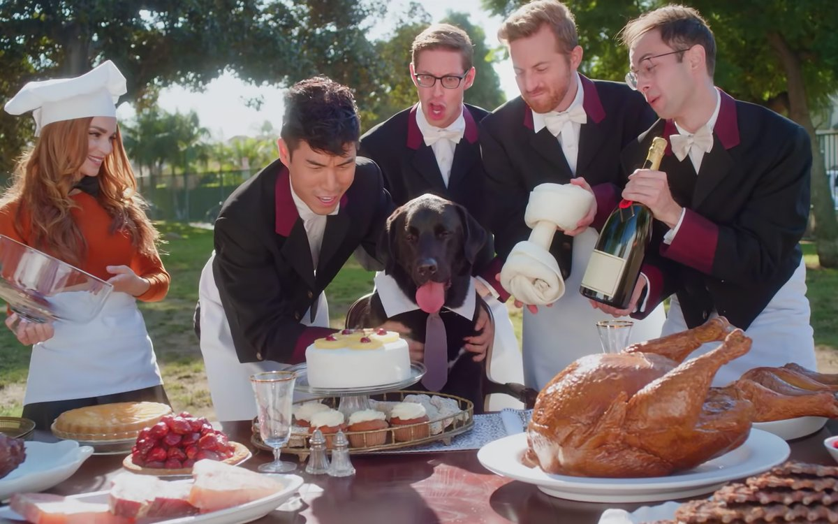 them: So for this years #YouTubeRewind youre going to be dressed as goofy 1920s waiters in @MollyBOfficials dogs dream 🐶 where youre lovingly serving him a feast with @RosannaPansino. us: YES. Wonderful. Couldnt have been cast more appropriately. 👍