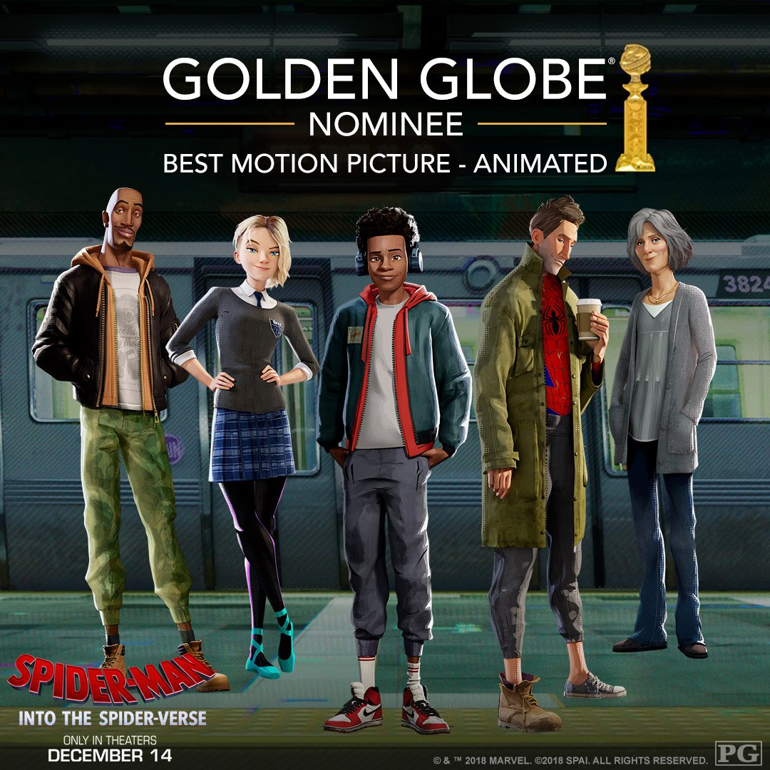 Spider-Man: Into the #SpiderVerse has been nominated for Best Animated Feature at the #GoldenGlobes! 🕷️