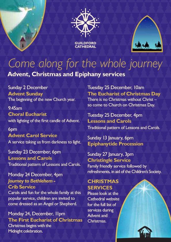 RT @GuildCath Come Along for the Whole Journey All welcome to join us for our services throughout This December and January 2019.  #Advent #Christmas #Epiphany   @engcathedrals @CofEGuildford @GuildfordTIC @TheTipsyPigs