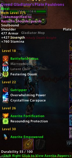 Azerite shoulders plate