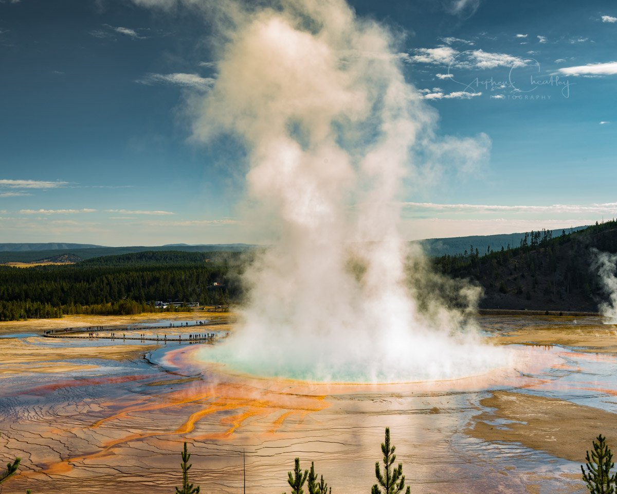 Letting off some steam. The Grand Prismatic Spring at #Yellowstone National Park #Wyoming