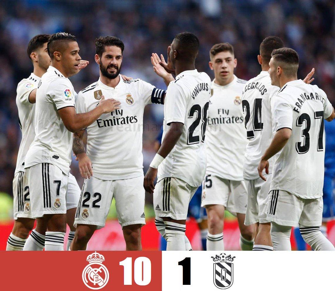 👑 #RealMadrid 'El Mejor Equipo del Mundo', APLASTA 6-1 al #Melilla (10-1 global); en el Estadio Santiago Bernabéu 🏟 ⚽️ Con goles de #JaviSánchez, #ViniciusJr y ⚽⚽ 'Dobletes' de #IscoAlarcón y #MarcoAsencio; sellan su pase a Octavos de Final 🥅 🏆 #CopaDelRey #HalaMadrid 🇪🇸