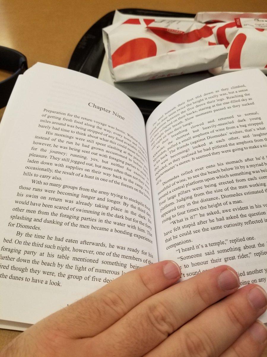 #lunch break. Food to nourish the body, a #book to nourish the mind. #TheFallOfThePhoenix. @Heroesoftroy #amreading https://t.co/2VwkcpKpLA