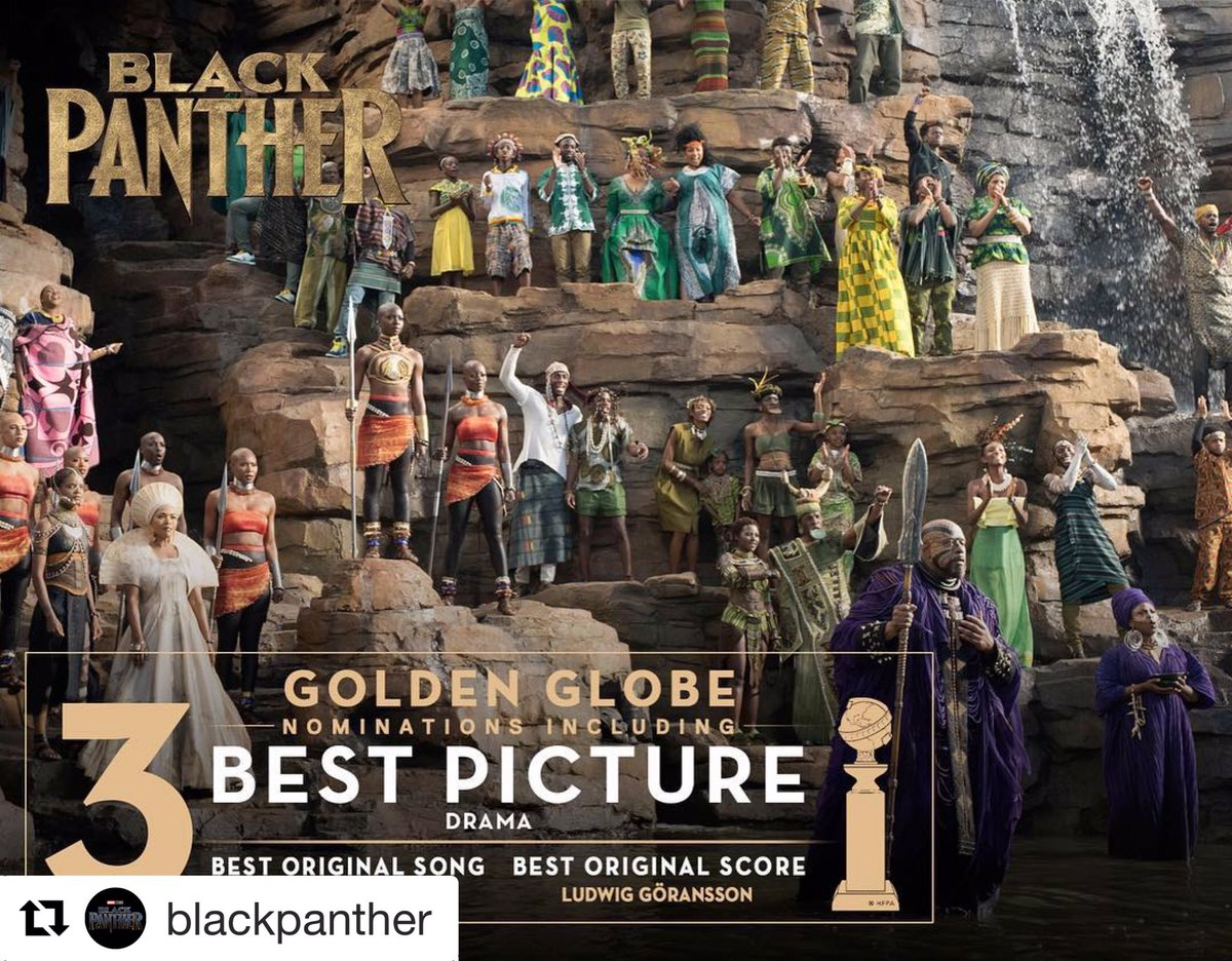 WOW. #doubledose 👏🏽👏🏽 #GaFILM ✨🎬🍑 Marvel Studios' #BlackPanther has been nominated for three Golden Globe Awards, including Best Picture! #GoldenGlobes @blackpanther & #BlackPanther has been named one of the 10 Best Films of the Year by the @AmericanFilmInstitute! #AFIAwards