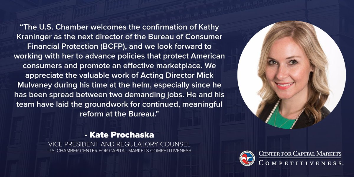 test Twitter Media - Read @USChamber @USChamberCCMC @KateBLarson statement on Kathy Kraninger's confirmation today to be the new @BCFPDirector @CFPB. https://t.co/CARXjEsnyZ