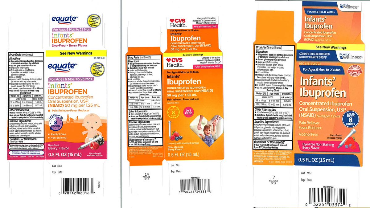 RECALL ALERT: Infant ibuprofen pulled from shelves at CVS, Family Dollar, Walmart  http:// abc7.la/2zMRywP  &nbsp;  <br>http://pic.twitter.com/wJEJUqTK4E