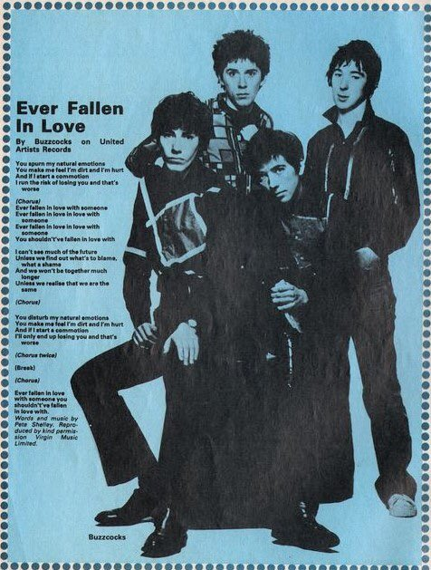 If you're anything like me, Ever Fallen In Love will be rattling round your brain for the next couple of hours. Here's the lyrics from Smash Hits in case you get lost... RIP Pete Shelley.