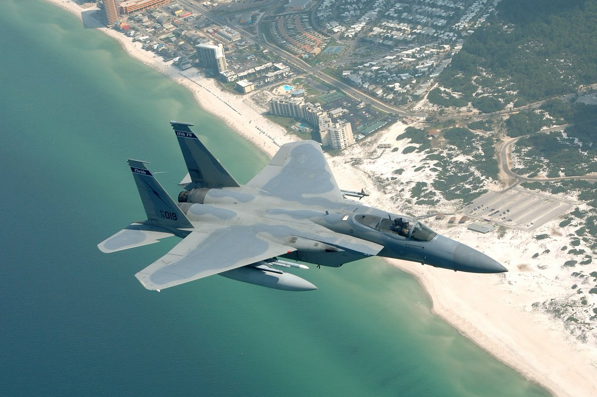 A F-15C right over Panama City Beach, FL. c. 2005 125th FW (U.S. Air Force photo by Master Sgt. Shaun Withers) <br>http://pic.twitter.com/sA86IEOhMM