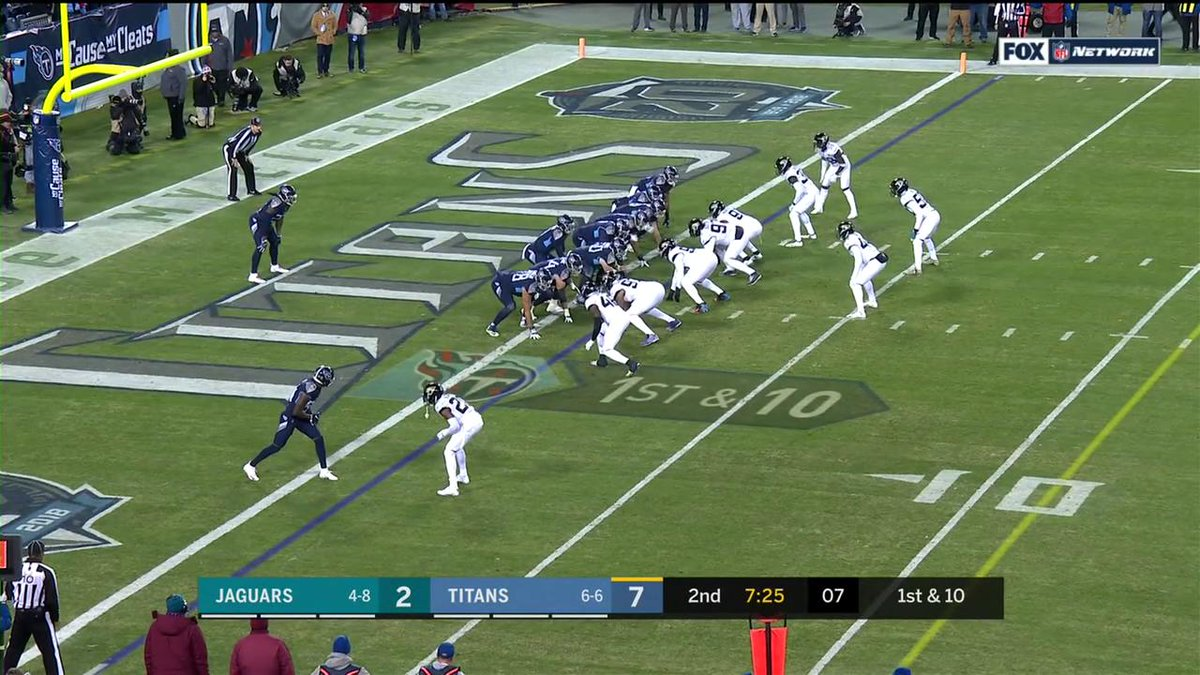 UNREAL.  Derrick Henry just stiff arms everyone in one of the best TD runs you will ever see!  #JAXvsTEN