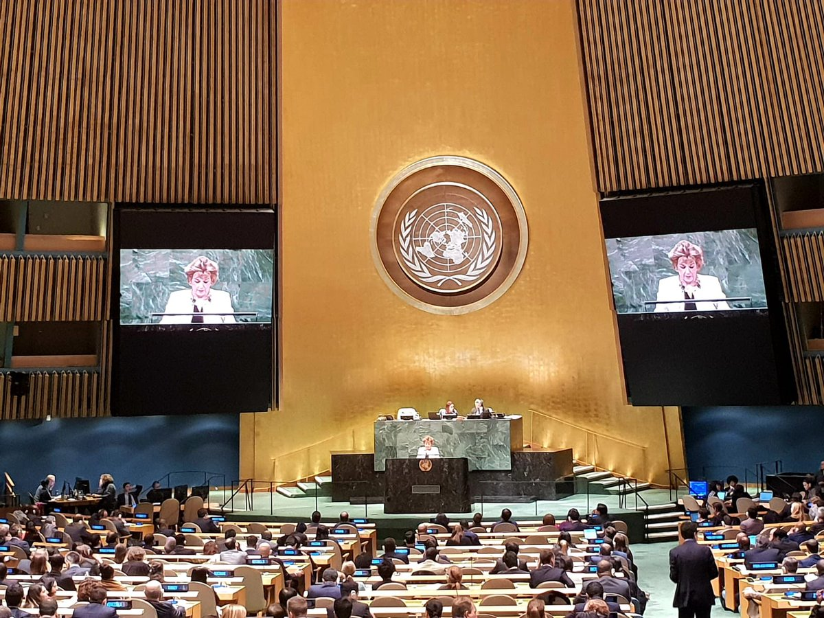 #UNGA resolution presented by #Ireland reaffirming the essential parameters of a future peace settlement in the #MiddleEast overwhelmingly adopted.<br>http://pic.twitter.com/6esrXn9kZl