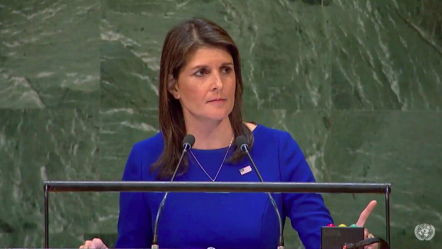 Let&#39;s have round of applause  to @nikkihaley , who led the courageous effort to condemn #Hamas at #UNGA.  In a hall renowned for darkness, like the Maccabees of #Chanukah , Amb. Haley is a shining beacon for truth &amp; justice!  Thank you, truly, from #Israel.<br>http://pic.twitter.com/w5vJ0BJvU5