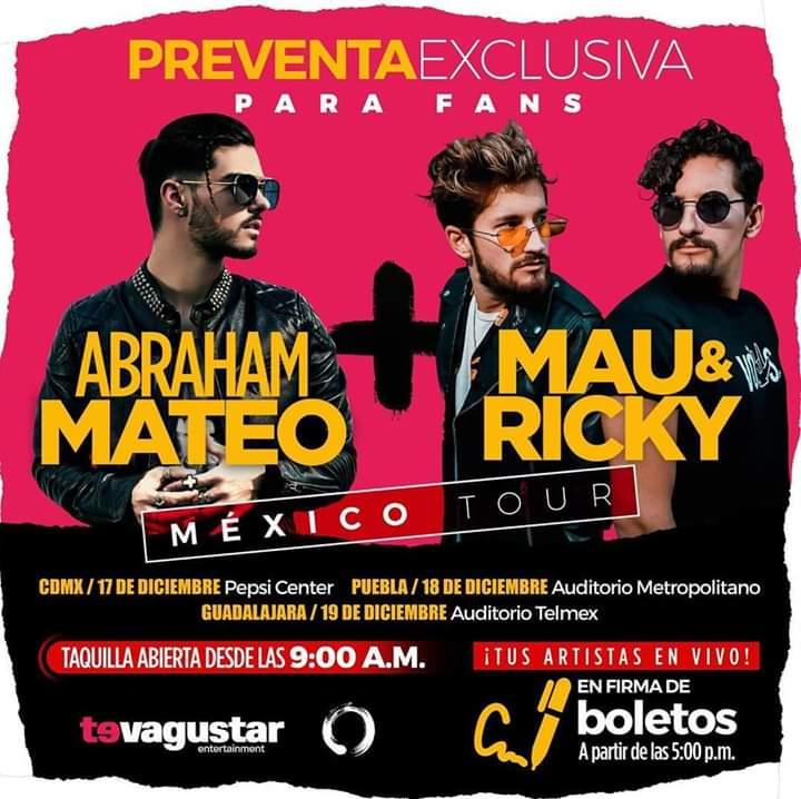 Dentro de una semana tenemos de regreso a @AbrahamMateo en México y estará firmando los boletos del concierto junto a Mau y Ricky con quienes compartirá sus próximos shows. RT si van a estar en taquilla para verlos 😃👌