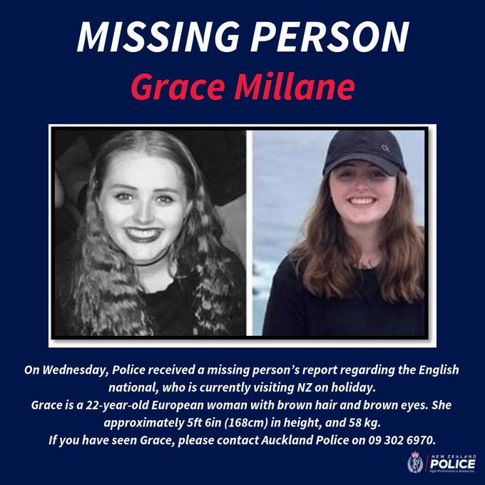 More than 25 Police staff are now working on the investigation into the disappearance of English tourist Grace Millane. Call the Auckland Police investigation team on 09 302 6970 with any information. MORE: Photo