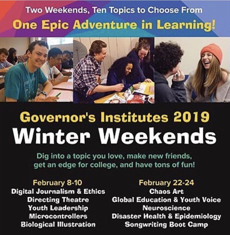 Highly recommend @SBHSVT students consider engaging with #VT Governor's Institutes! Amazing opportunities for learning.