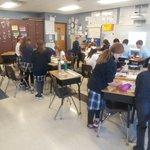 Image for the Tweet beginning: SJS 5th-graders hard at work