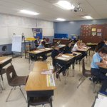 Image for the Tweet beginning: SJS 5th-graders hard at work