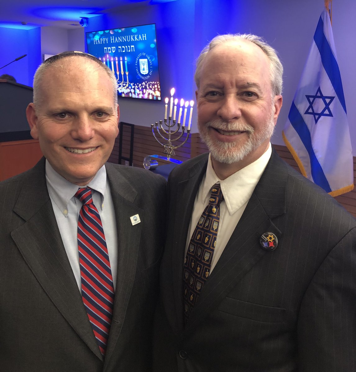 An honor to celebrate #Hanukkah at @IsraelinUSA with Rabbi Jeffrey Myers from Pittsburgh's Tree of Life synagogue.