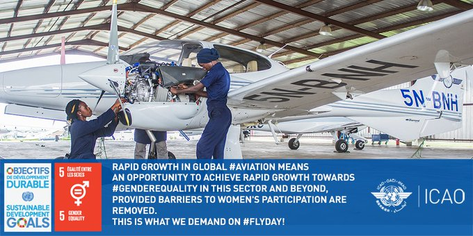 Gender equality in aviation requires action. On Friday's #FlyDay, @icao urges the industry to remove barriers that hinder women's participation. #GlobalGoals Photo