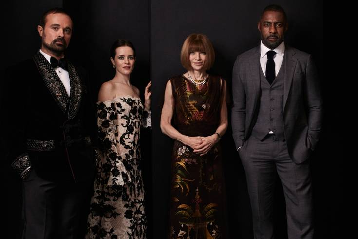 Portrait HQ - Co-hosts of the Evening Standard Theatre Awards, Evgeny Lebedev, Claire Foy, Anna Wintour and Idris Elba <br>http://pic.twitter.com/fpF7vgl7Nu