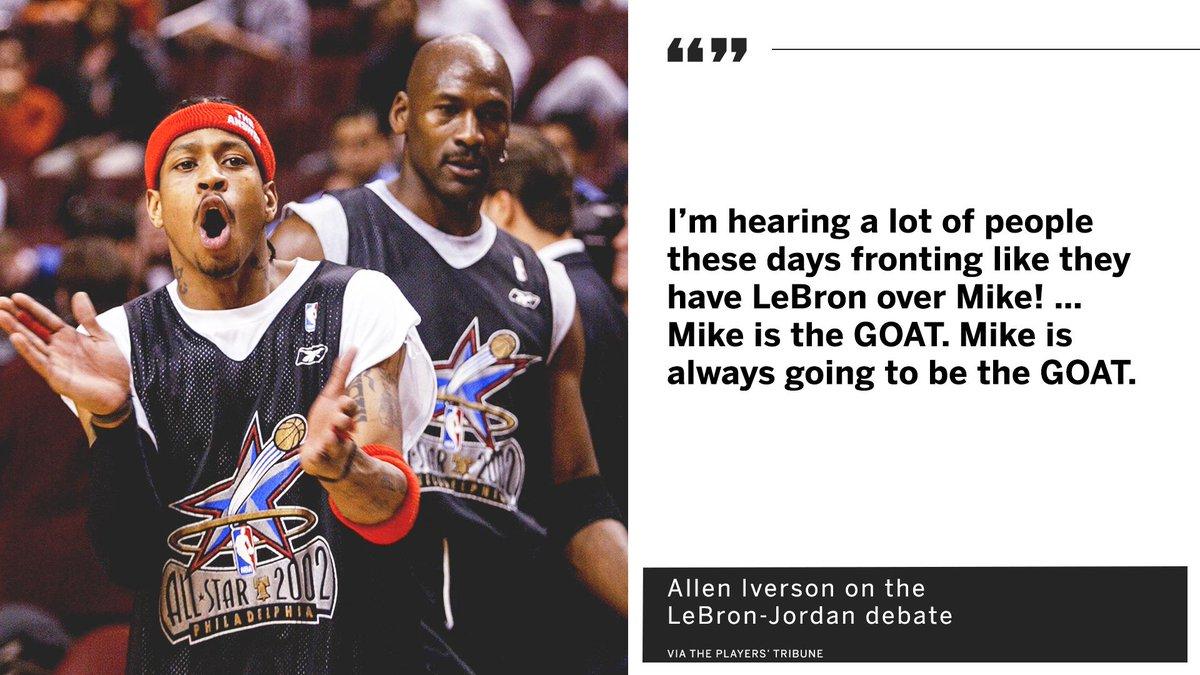 LeBron vs. Jordan isn&#39;t even a debate for @AllenIverson. <br>http://pic.twitter.com/QaZgmRmQsB