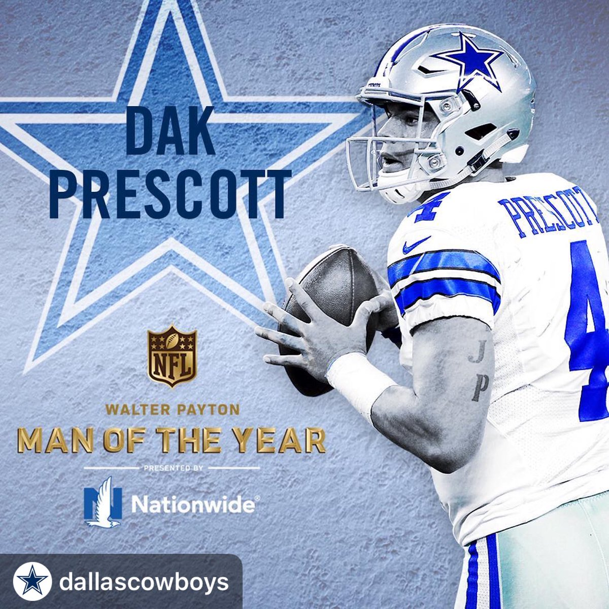 #Repost @dallascowboys ・・・ The Cowboys are proud to announce that @dak has been named our 2018 Walter Payton NFL Man of the Year nominee! @nationwide #WPMOY <br>http://pic.twitter.com/3E5qc2U9u4