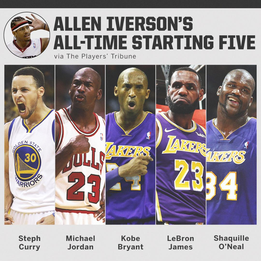 .@alleniverson&#39;s all-time starting five: <br>http://pic.twitter.com/2z9wTh0ggh