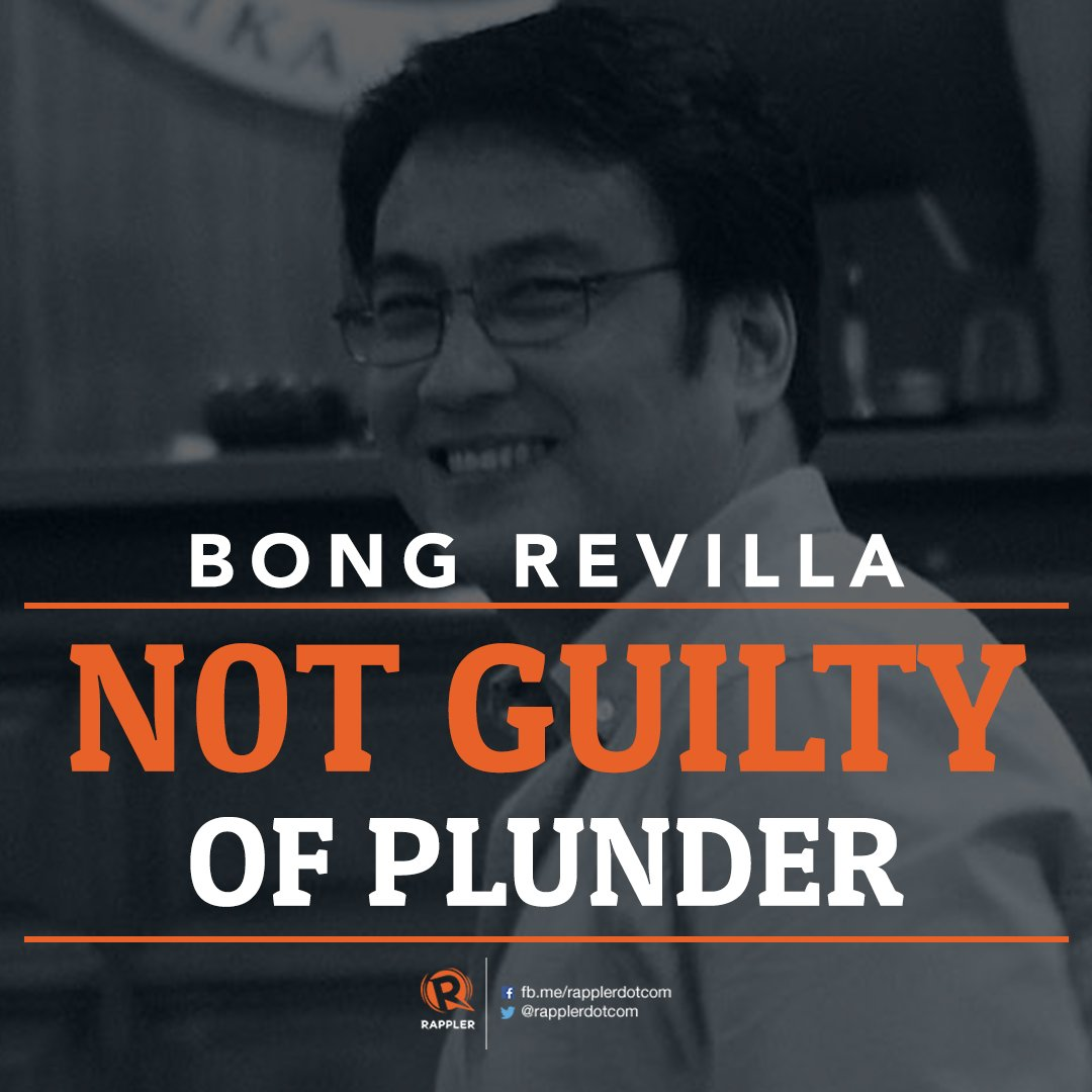 JUST IN: Sandiganbayan ACQUITS Bong Revilla of plunder. But they CONVICT Revilla's former staff Richard Cambe and Janet Lim Napoles.  Details on https://t.co/pDc4McqT56.