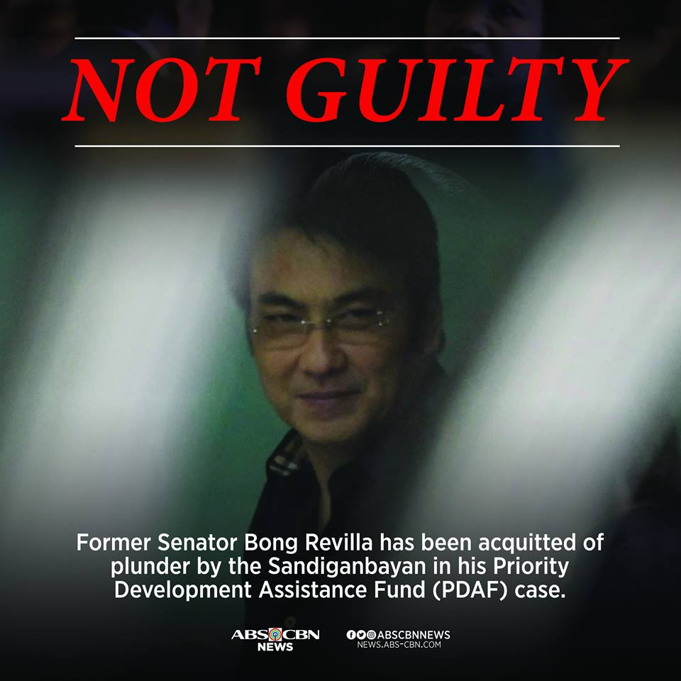 NOT GUILTY. Sandiganbayan acquitted former Senator Bong Revilla of plunder in his Priority Development Assistance Fund (PDAF) or 'pork barrel' scam case.