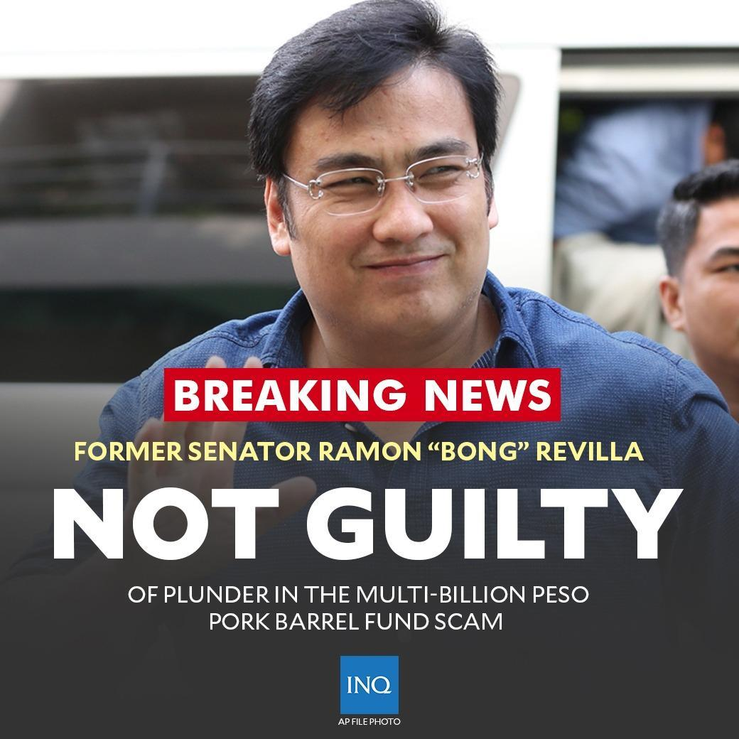 """BREAKING: Former Senator Ramon """"Bong"""" Revilla has been acquitted by the Sandiganbayan from plunder cases in relation to the """"Pork Barrel Scam.""""  Read more: https://t.co/AFhqAHuPHU"""
