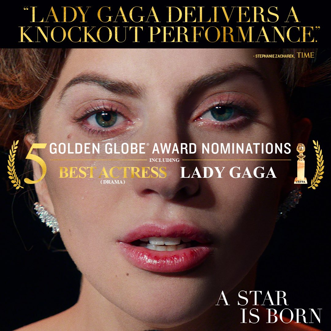"""Join us in celebrating #LadyGaga who was honored with two #GoldenGlobes noms — Best Actress Drama for her stunning performance and for Best Original Song """"Shallow."""" #AStarIsBorn<br>http://pic.twitter.com/qfEozQ1ccY"""