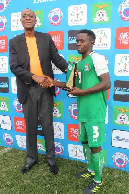 @WalyaNganga Midfielder Prince Mumba was voted the man of the match in yesterdays @COSAFAMEDIA U20 game involving Zambia and DR Congo. Zambia won 2-0 . Mumba scored his third goal of the tournament. #COSAFAU20 Photo