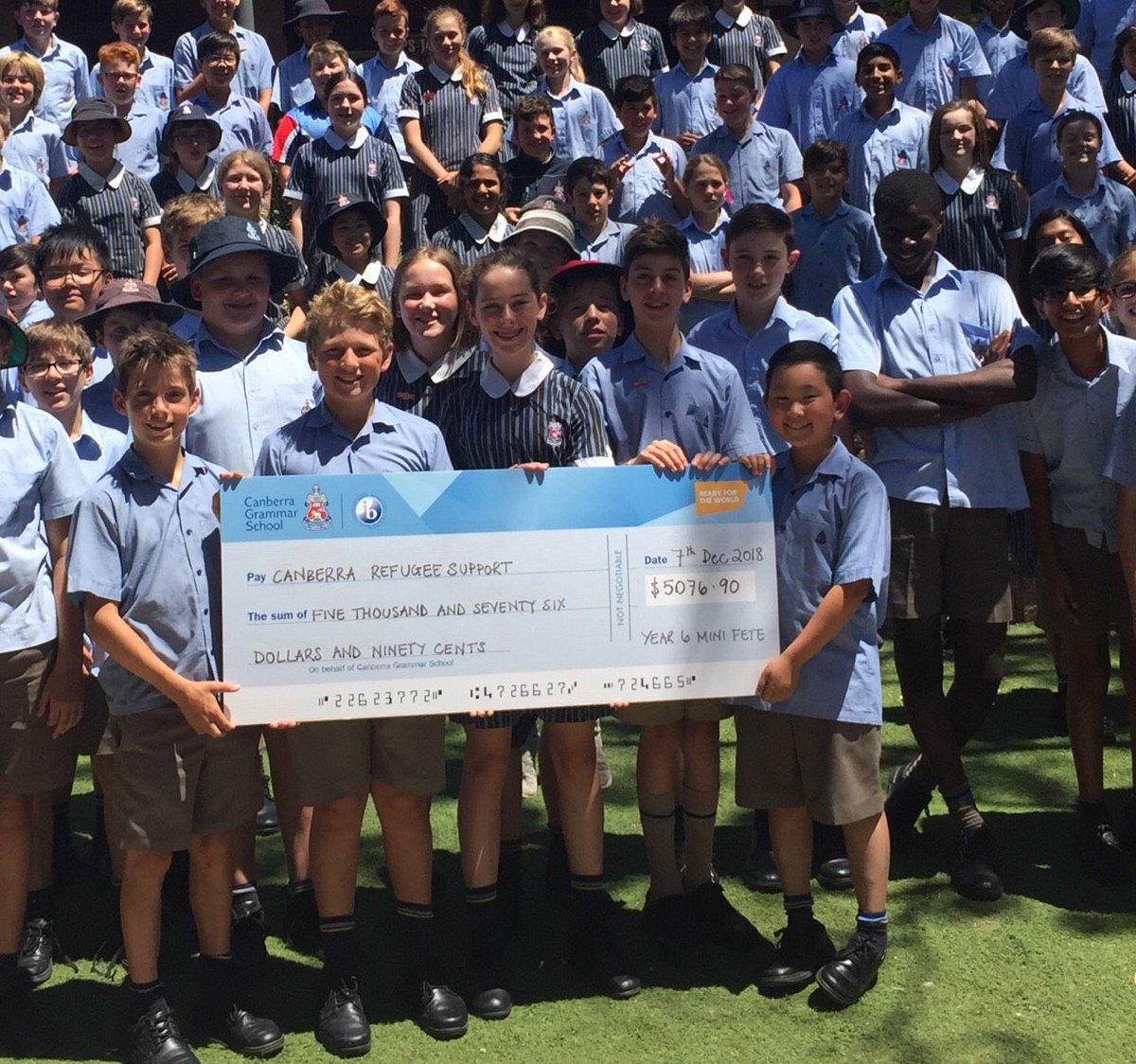What a great collective initiative - our Year 6 have taken action to support the Canberra Refugee Support organisation by donating their Mini-Fete profits.