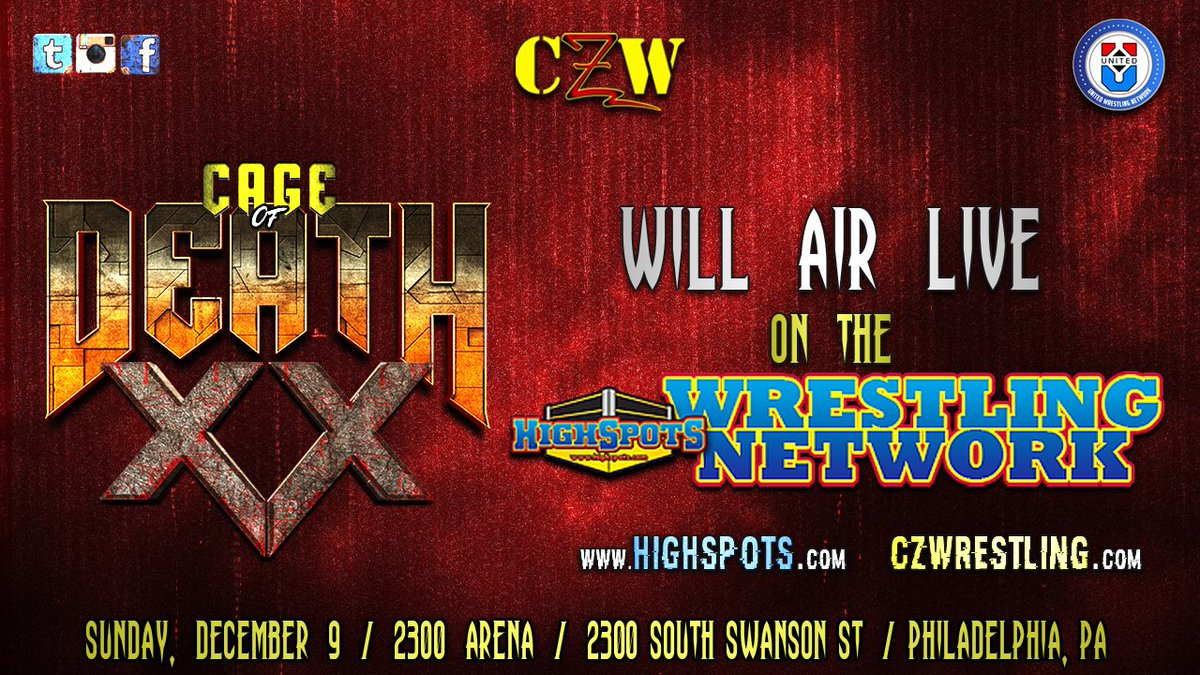 Wrestle World - CAGE OF DEATH 20: Combat Zone Wrestling Cage