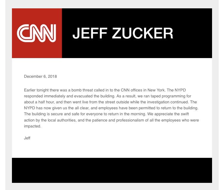 Jeff Zucker addressed tonight's bomb threat in a note to employees: