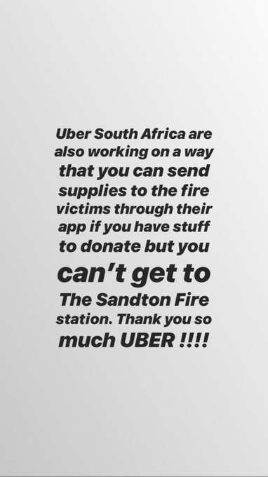 UBER South Africa also working on a way to get supplies easier to Alexandra. Thank you UBER Photo