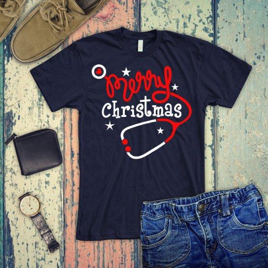 abfce4917 ... Nursing Shirt/ Nurse Christmas tees/ Funny Christmas Gifts/ Merry  Christmas shirt/ nurse Stethoscope/ Christmas Tree T-shirt  https://etsy.me/2rpTLKb ...